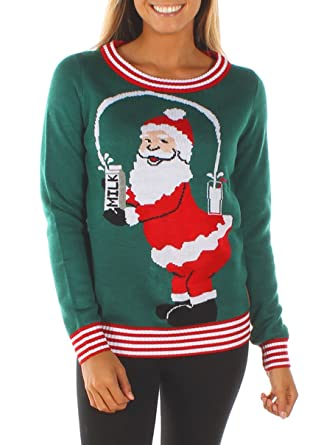 9c37b24f61d Tipsy Elves Women s Break The Internet Ugly Christmas Sweater X-Small Green