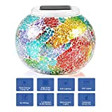 Solar Powered Mosaic Glass Color Changing Table Lamp LED Rechargeable Lamp Crystal Glass Night Light Waterproof Outdoor Lights for Home Yard Patio Party Decorations 5.12 4.13 In (Mosaic-Rainbow)