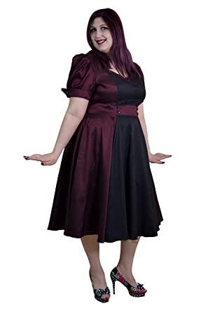 d3f585a38f70 Skelapparel Plus Size Vintage 60's Queen of Hearts Two Tone Burgundy & Black  Satin Dress (