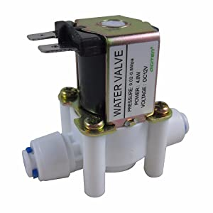 "DIGITEN DC 12V 1/4"" Inlet Feed Water Solenoid Valve Quick Connect N/C normally Closed"