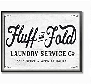 Stupell Industries Fluff and Fold Laundry Room Vintage Country Sign, Designed by Lettered and Lined Wall Art, 11 x 14, Black Framed