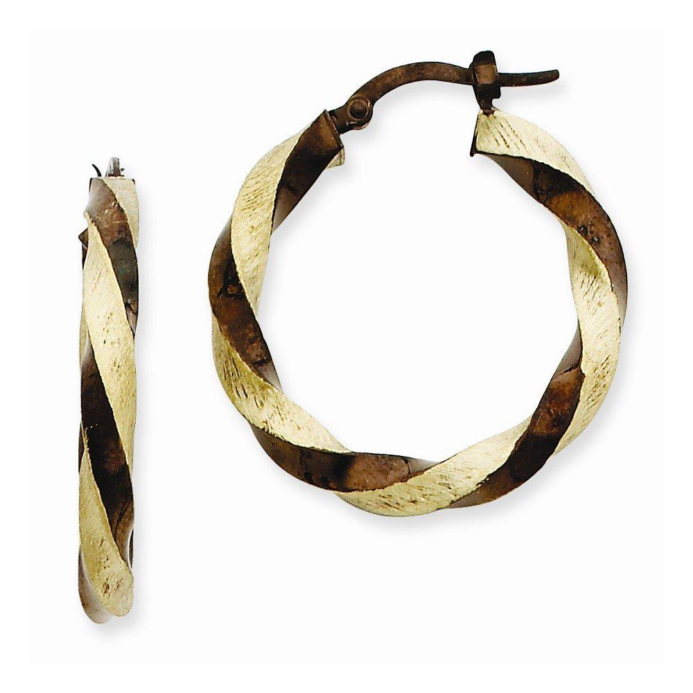 14k Gold Chocolate Rhodium Twisted Hoop Earrings