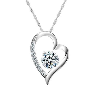 heart girlfriend jewelry cz amazon silver pendant girl day e necklace com sterling women valentines shaped diamonds dp b