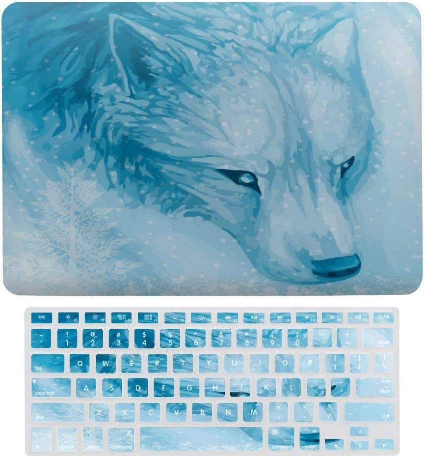 Laptop Screen Case for MacBook Air 13 & New Pro 13 Touch, Winter Frost Wolf Keyboard Cover Screen Protector Shell Set
