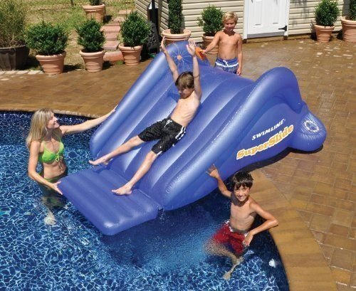 New Shop Swimline Super Water slide Kids Inflatable Swimming Pool Game 99-inchx68-inchx4 by Pool