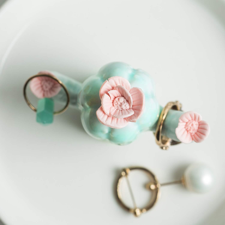 3 Cactus with Little Flowers WANYA Cactus Ceramic Ring Jewelry Holder Decor Dish Organizer