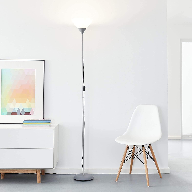 Projecteur plafonnier LED classique, 1x 10W E27 LED E27 incl., 810 lumens, 2700K blanc chaud, métal / plastique, argent/blanc