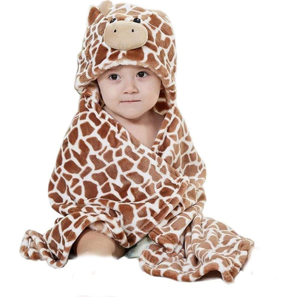 Feelme Robe de Chambre Polaire Enfant Peignoir Sortie de Bain à Capuche Animaux pour Bébé Cape de Bain Flanelle Microfibre K-YP-LU