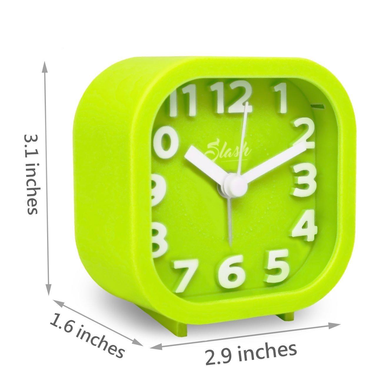 Slash 3D Digital Creative Desk Alarm Clock, Simple Candy Color for Sitting Room, Bedroom, Office, Snooze Function, Non Ticking, Nightlight Function ...