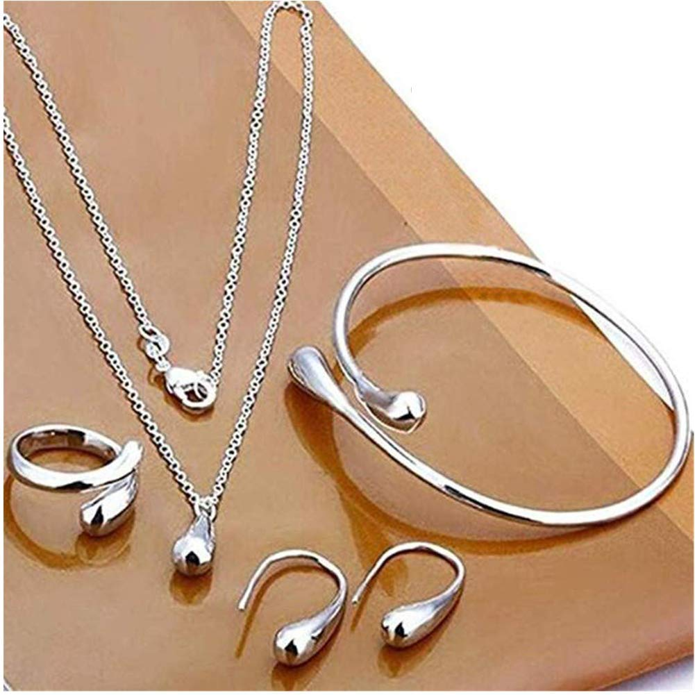 Bangle Set for 4 Pcs Party Mothers Day Prom Wedding Fashion Accessories Gift Ring Earring Syhonic 925 Sterling Silver Jewelry Set for Women Teardrop Necklace