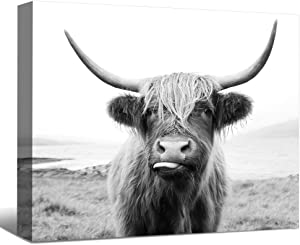 SENEW Animal Canvas Wall Art for Bedroom, Living Room, Office, Black and White Cow Framed Canvas Art for Home Decor,36