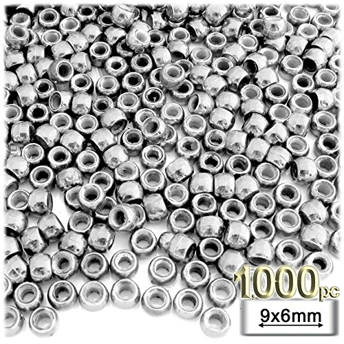 The Crafts Outlet 1000-Piece Plastic Round Opaque Pony Beads, 9 by 6mm, Silver