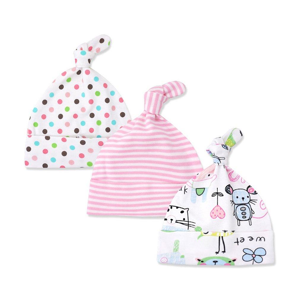 Kissababy 3-Pack Newborn Baby Beanie Hats Cotton Adjustable Knot Cap Cotton Knit Caps HK29