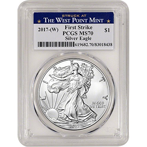 2017 (W) American Silver Eagle (1 oz) First Strike West Point Label $1 MS70 PCGS