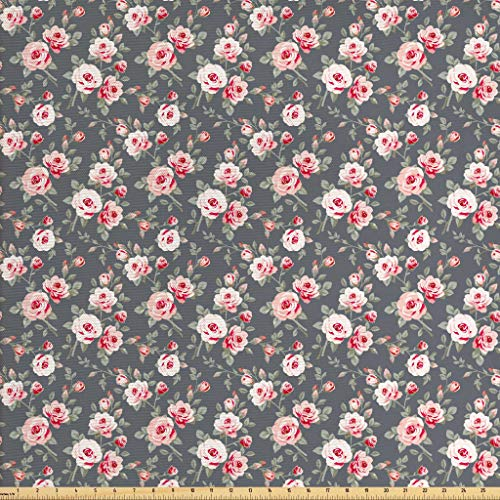 Ambesonne Shabby Chic Fabric by The Yard, Vintage Style Vibrant Roses Leaves Bush Buds Stems Rural Area Classical Pattern, Decorative Fabric for Upholstery and Home Accents, 3 Yards, Multicolor
