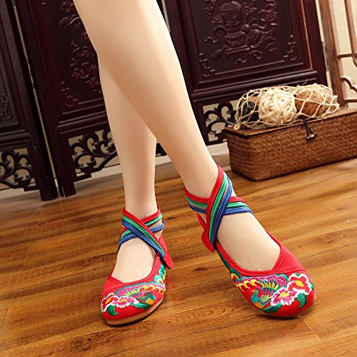 Shoes Soft Canvas Ricamo Red Dressing Breathable Chinese for Shoes Classic Floral qCOwTOY