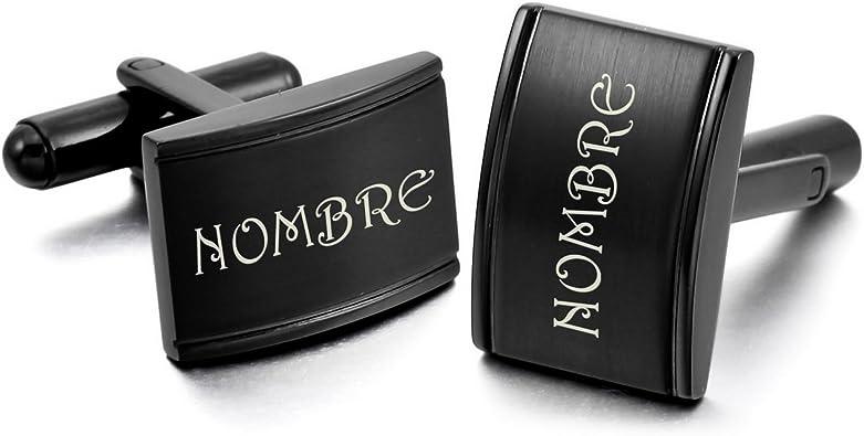 MeMeDIY Negro Acero Inoxidable Gemelos Camisa Alianzas Boda - Grabado Personalizado: Amazon.es: Joyería