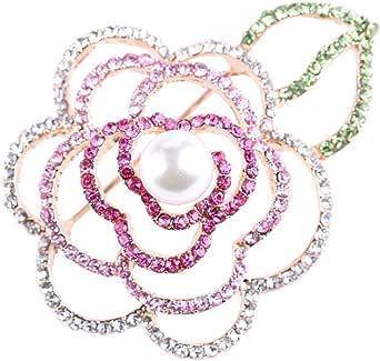 Gyn&Joy Womens Gold Tone Pink Rhinestones Faux Pearl Floral Flower Rose Brooch Pin