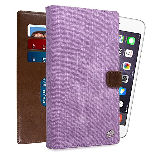 """Kroo Universal Large Smartphone Folio Case with Rear Camera Slide for Phone Screen Size up to 6.3"""" - Mauve"""