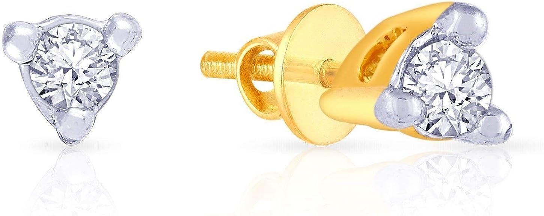 Malabar Gold and Diamonds 18KT Yellow Gold and Diamond Stud Earrings for Women Women's Earrings