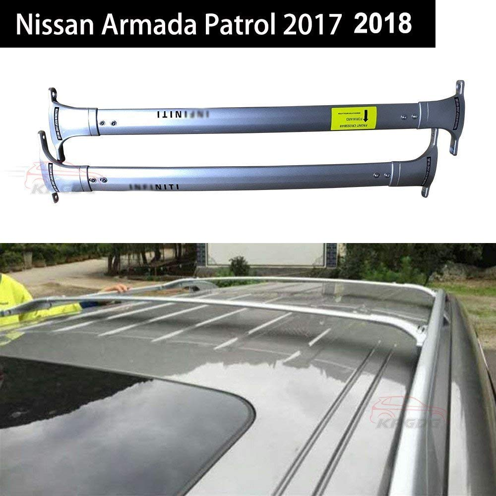 Roof Rack Crossbars for Nissan Armada Patrol 2016 2017 2018 Patrol Factory Roof Rails ALUMINUM BLACK ROKIOTOEX