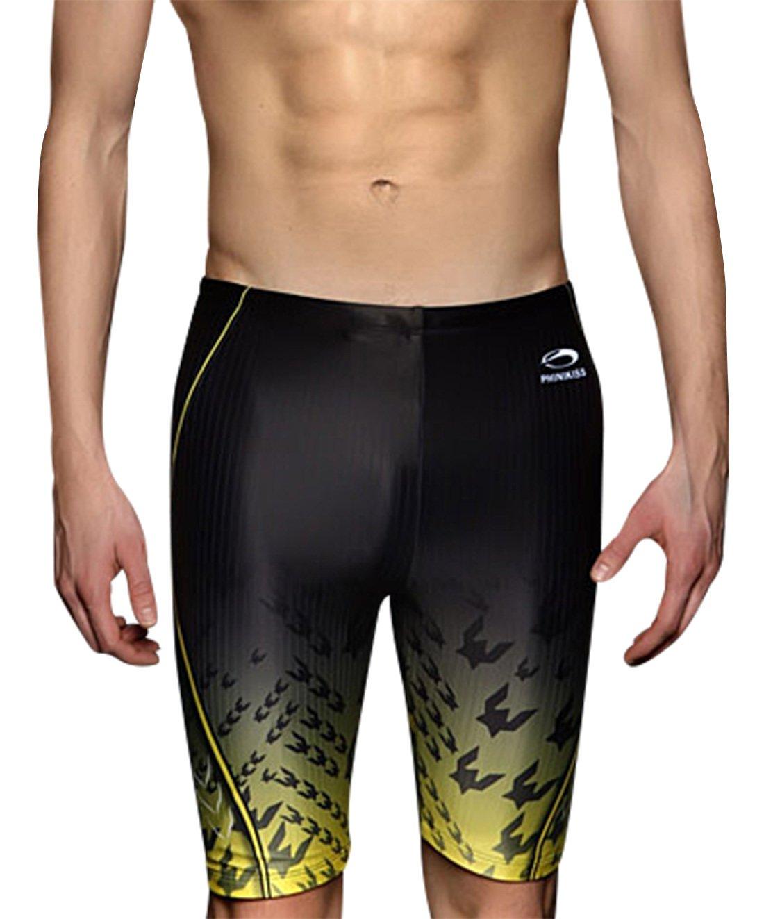 Phinikis Men's Swim Jammer Block UV Rays Outdoor Sports Racing Boxer Briefs Swimming Shorts 38 Yellow