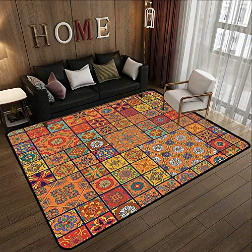 (Area Rugs,Moroccan Decor Collection,Collection of Moroccan Style Geometric Patterns Floral Ornamental Patchwork Print,Orange Red 55