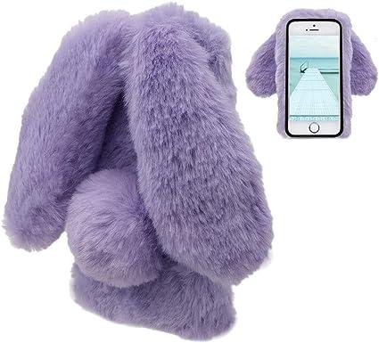 Coque iPhone 5 5S SE Lapin Peluche Coque Fourrure Violet Mignon Lapin Oreille Étui de Protection Hiver Chaud Souple Poilu Motif Doux Silicone TPU Gel ...