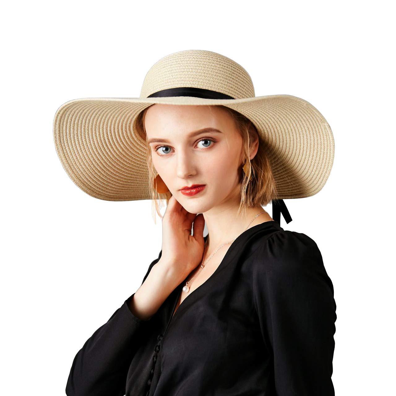 Abeige Women's Big Brim Sun Hat Floppy Foldable Bowknot Straw Hat Summer Beach Hat UPF 50+