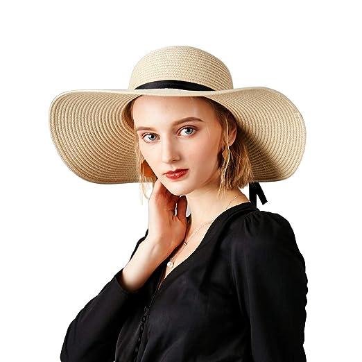 c4067a28bb64f Women s Big Brim Sun Hat Floppy Foldable Bowknot Straw Hat Summer Beach Hat  UPF 50+
