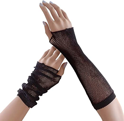 Women/'s Fishnet Fingerless Gloves Elbow