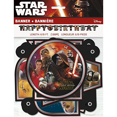 Star Wars Episode 7 The Force Awakens Jointed Birthday Banner (Star Wars Party Decorations)