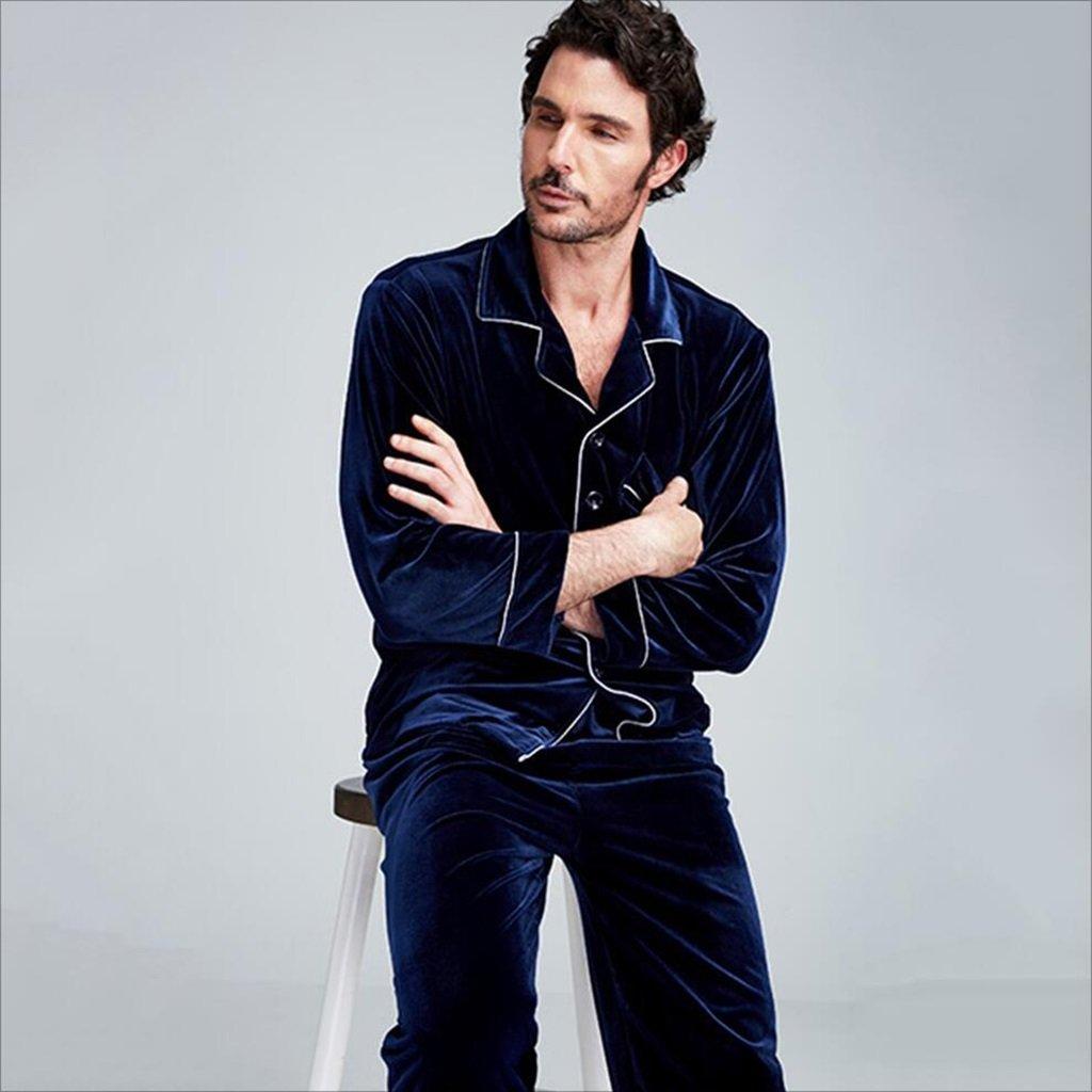 Pijama pijama trajes hombres ropa de calle suelto otoño invierno terciopelo dorado vino rojo azul oscuro gris oscuro negro (Color : Blue , Size : SG) : ...
