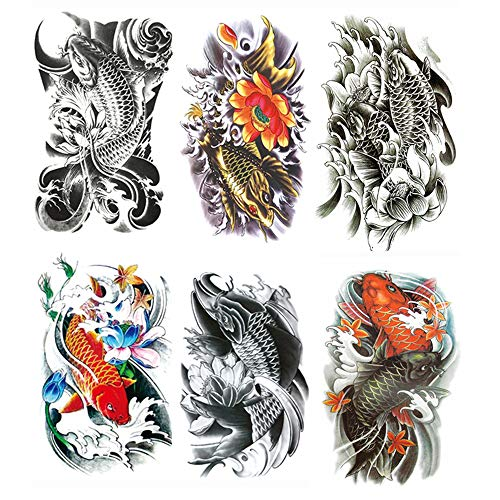 Yesallwas Large Temporary Tattoo Sticker Fake Tattoos,waterproof Long Lasting Body Art Makeup Sexy Realistic Arm tattoos - koi Fish Tattoos, Lotus,Gold carp tattoo -