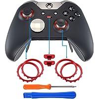 eXtremeRate 2 Paquetes de Anillos de Joysticks Botón de Interruptor de Perfil Accesorios Repueatos para Mando de Xbox One Elite Rojo Cromo Mate