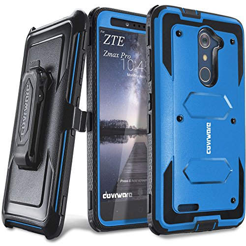 COVRWARE [Aegis Series] case Compatible with ZTE ZMAX PRO/ZTE Carry, with Built-in [Screen Protector] Heavy Duty Full-Body Rugged Holster Armor Case [Belt Swivel Clip][Kickstand], Blue