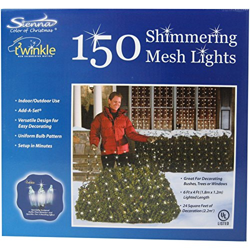Lb International Twinkle Net Lights - 4x6 Shimmering Mesh...