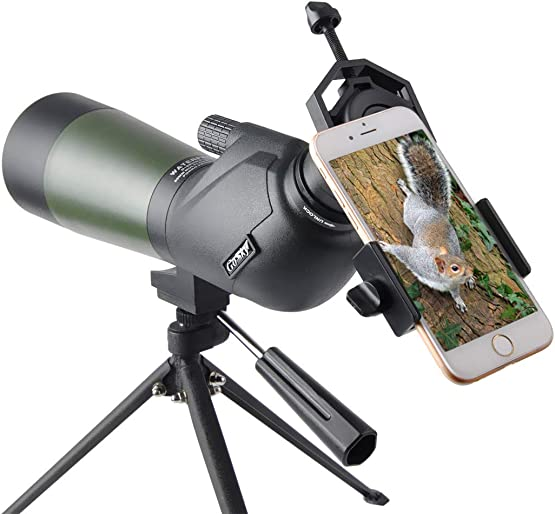 Gosky HD 15-45X 60 Porro Prism Spotting Scope – Waterproof Spotting Scope for Bird Watching Target Shooting Archery Scenery – with Tripod and Digiscoping Adapter – Get The World into Screen