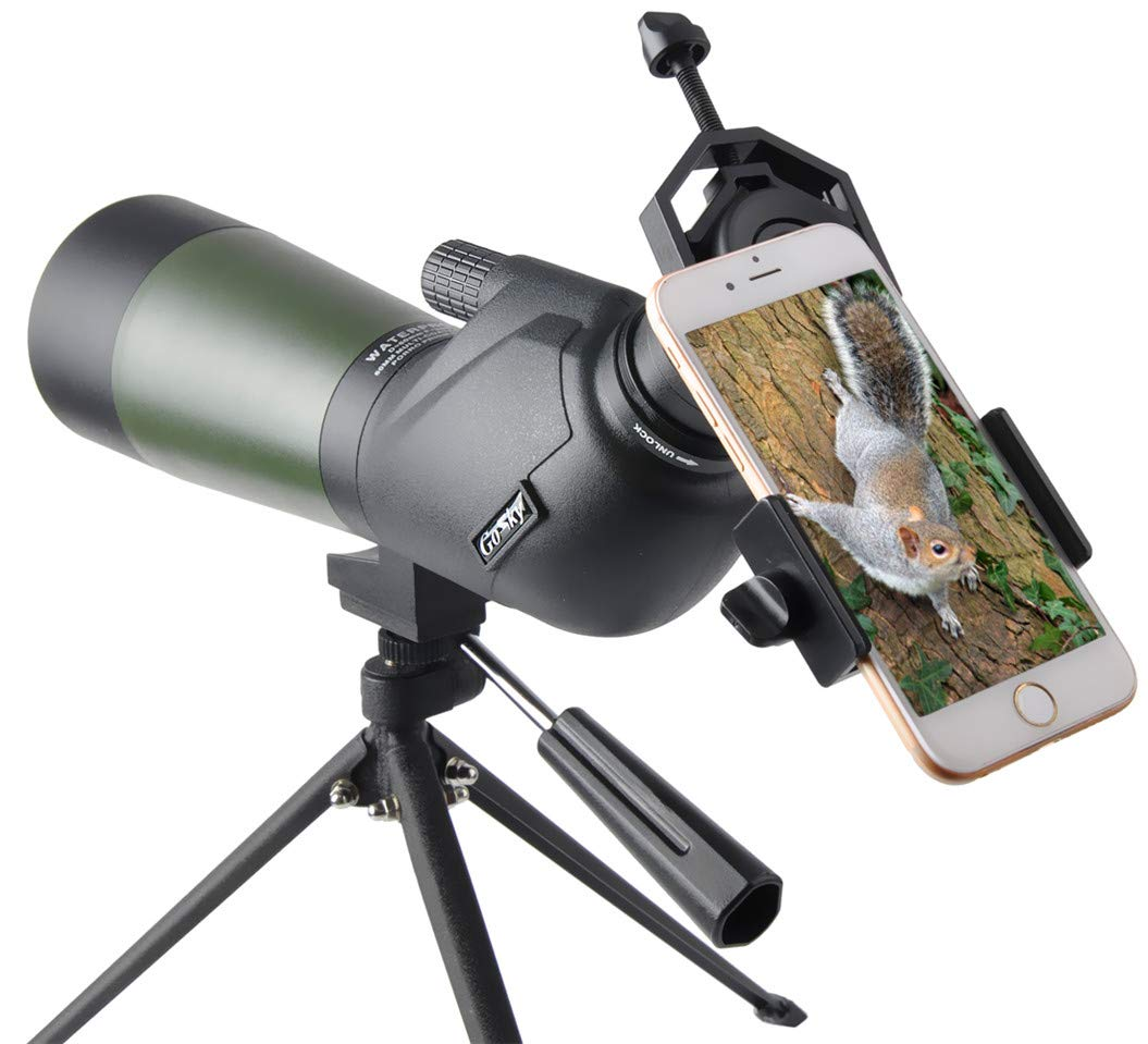 Gosky HD 15-45X 60 Porro Prism Spotting Scope - Waterproof Spotting Scope for Bird Watching Target Shooting Archery Scenery - with Tripod and Digiscoping Adapter - Get The World into Screen