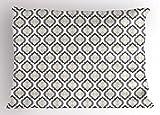 Lunarable Cream Pillow Sham, Moroccan Style Trellis Pattern with Geometric Design Arabian Oriental Retro Inspired, Decorative Standard Queen Size Printed Pillowcase, 30 X 20 inches, Grey Beige