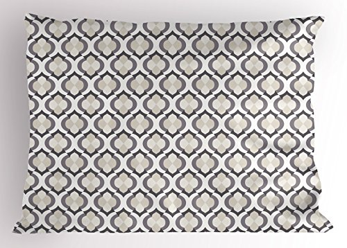 Lunarable Cream Pillow Sham, Moroccan Style Trellis Pattern with Geometric Design Arabian Oriental Retro Inspired, Decorative Standard Queen Size Printed Pillowcase, 30 X 20 inches, Grey Beige by Lunarable