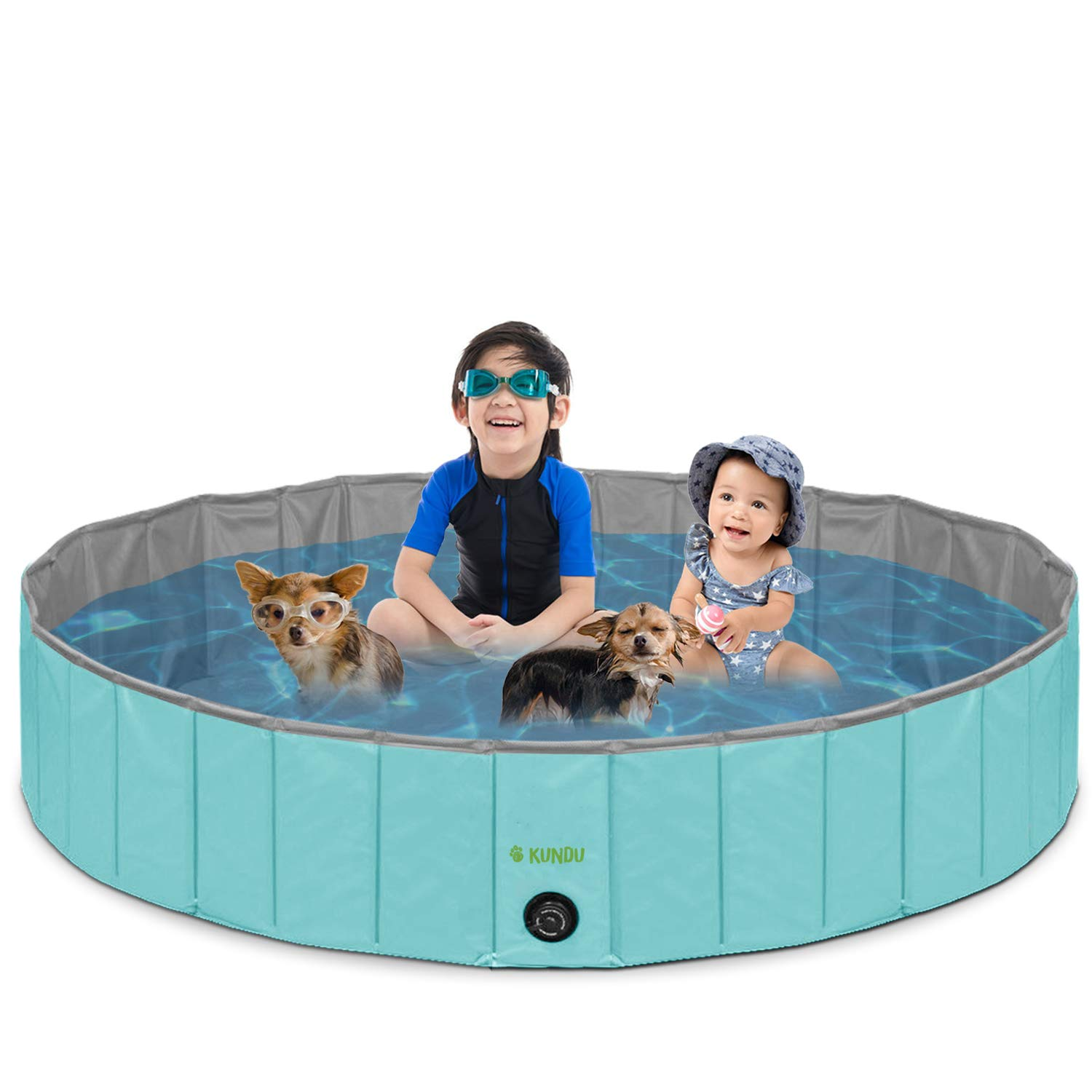 Kundu Round (63'' Diameter x 12'' Deep) Heavy Duty PVC Outdoor Pets and Kids Pool/Bathing Tub - Portable & Foldable - Extra Large