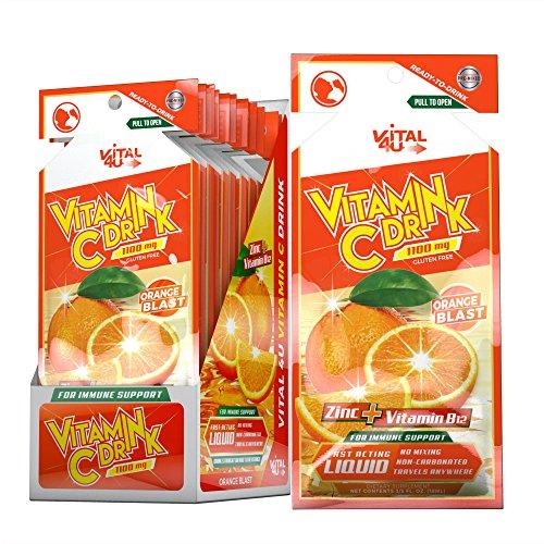 Vital 4U Vitamin C Drink Dietary Supplement, Ready to Drink 1100mg Vitamin C (Orange Blast Flavor, 24 Count)