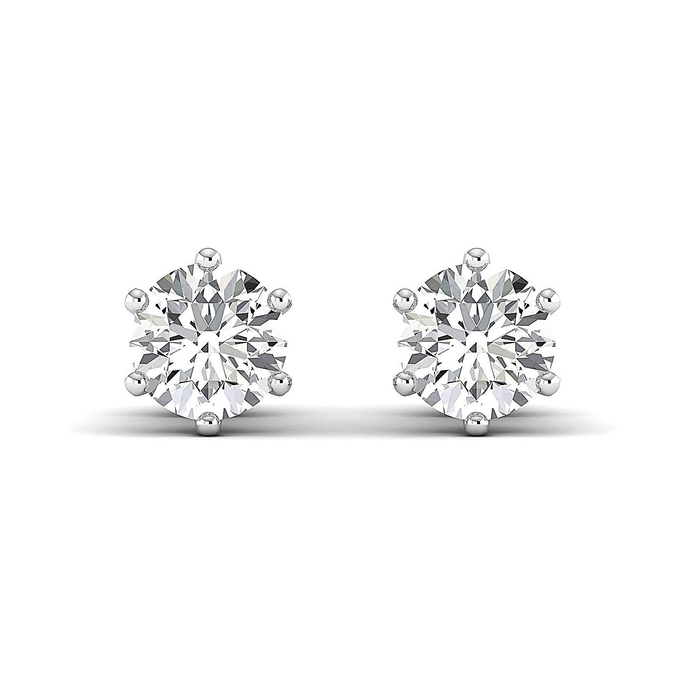 GH//VVS Stud Earrings for Women perfect Jewelry Gifts for Women Teen Girls Round Brilliant Earring Studs 0.3 to 4 Carat Moissanite Stud Earrings 18K white-gold