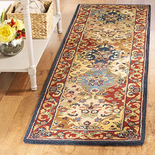 Safavieh Heritage Collection HG911A Handcrafted Traditional Oriental Multi and Burgundy Wool Runner (2