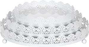 Amalfi Decor 3-Piece White Decorative Tray Set, Round Metal Ornate Accent Vanity Food Display Serving Platter Holder Plates