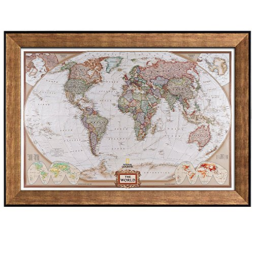 Antique Framed Print (Wall26 - Colorful National Geographic Antique World Map - Framed Art Prints, Home Decor - 24x36 inches)