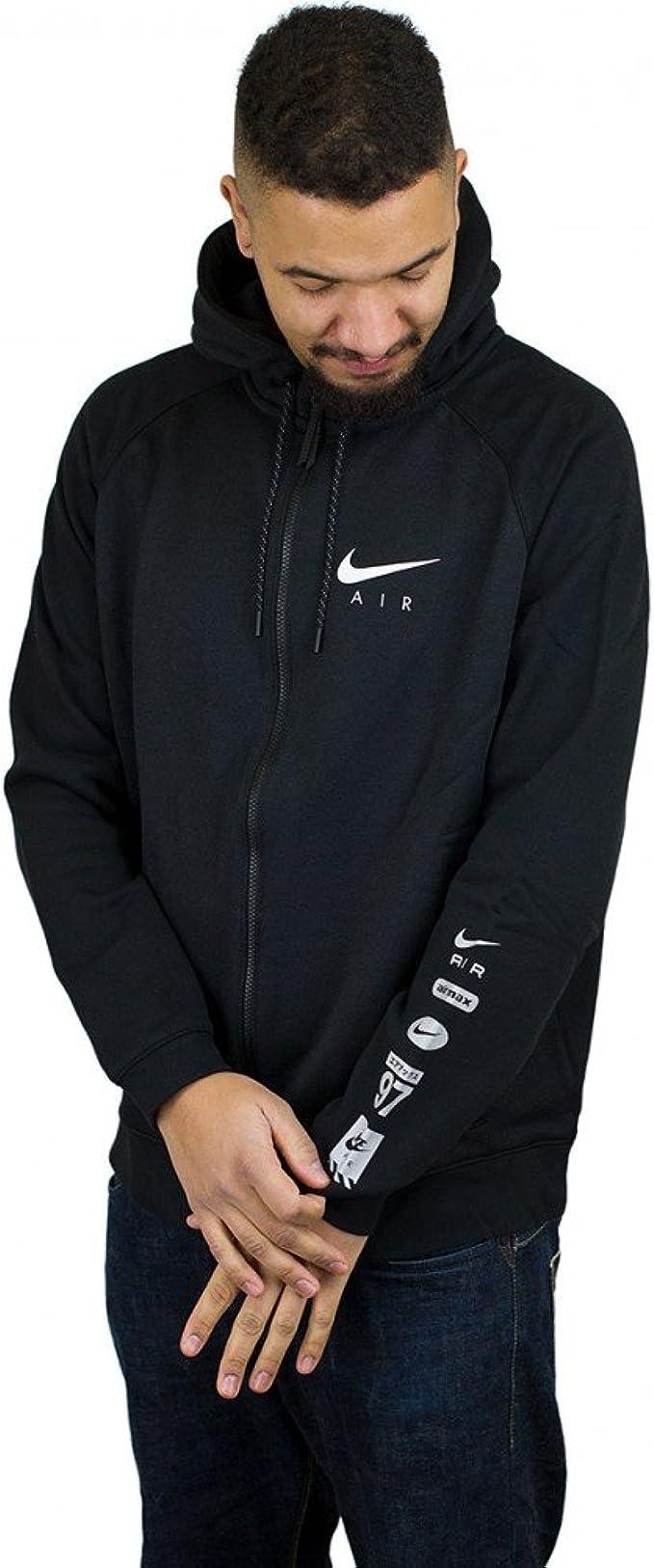 Nike Men's Sportwear Air Hybrid Full Zip Hoodie BlackWhite