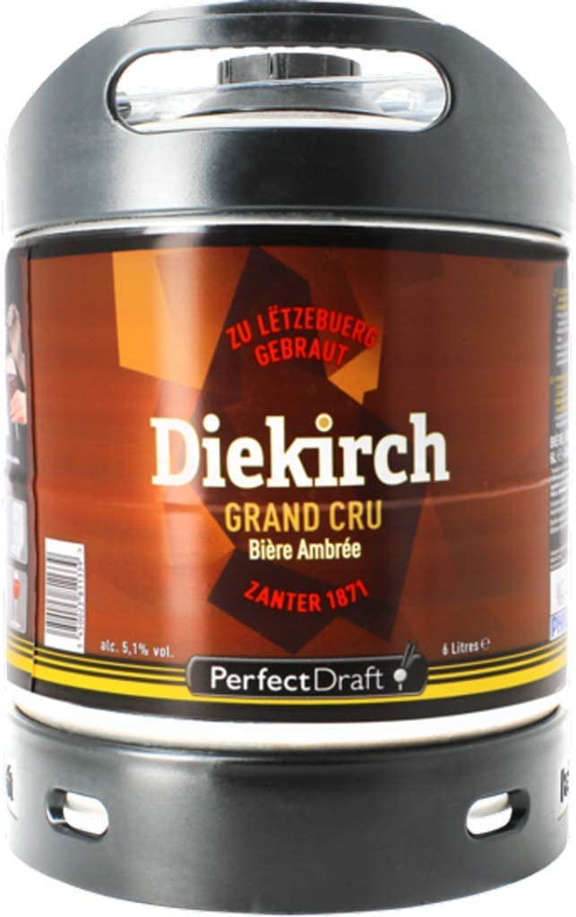 Cerveza PerfectDraft un barril de 6 litros de Diekirch Grand Cru - Lager. Máquina de tiro casera. Incluye un depósito de 5 euros.