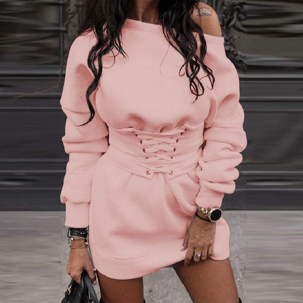 Women Dresses Sale Ladiess Solid O-Neck Long Sleeve Fleece Thick Dress+Waistband Belt Bandage Plus Size Dress Party Elegant Dress Vintage Dress UK Size S XXXXL